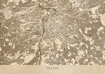 Map Sepia vintage map of Prague