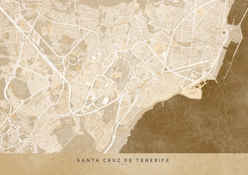 Map Sepia vintage map of Santa Cruz de Tenerife