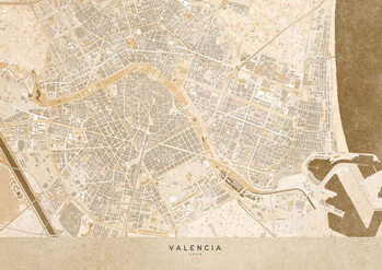Map Sepia vintage map of Valencia