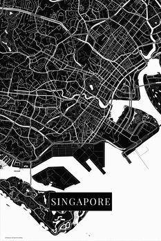 Map Singapore black
