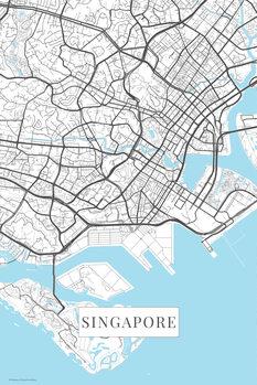 Mapa Singapore white