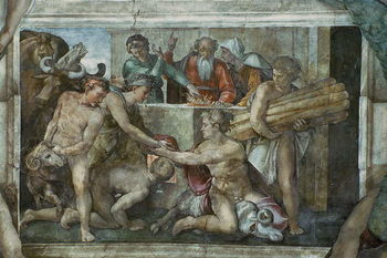 Fine Art Print Sistine Chapel Ceiling: Noah After the Flood