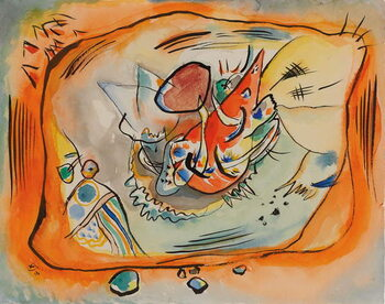 Fine Art Print Sketch for Painting with Orange Border, 1916