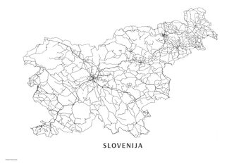 Map Slovenija black & white