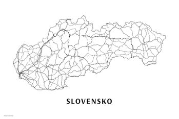 Map Slovensko black & white