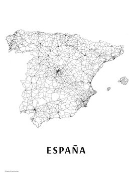 Map Spain black & white