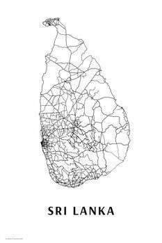 Map Sri Lanka black & white