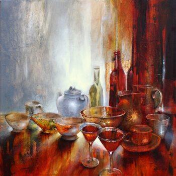 Illustration Still life with a grey teapot
