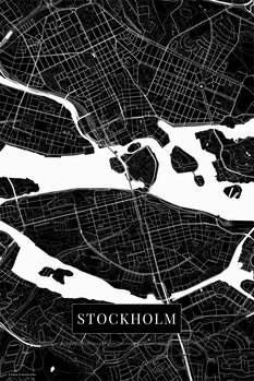 Kartta Stockholm black