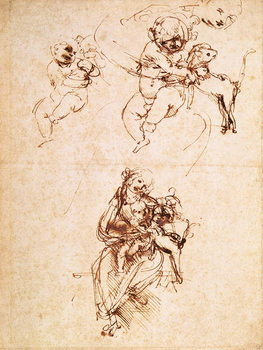 Fine Art Print Studies for a Madonna with a Cat, c.1478-80