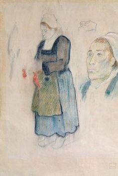 Fine Art Print Studies of Breton peasants, 1888