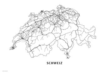 Map Switzerland black & white