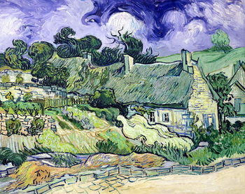 Fine Art Print Thatched cottages at Cordeville, Auvers-sur-Oise