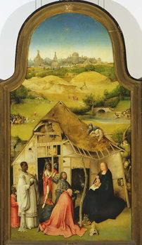 Reprodução do quadro The Adoration of the Magi, detail of the central panel