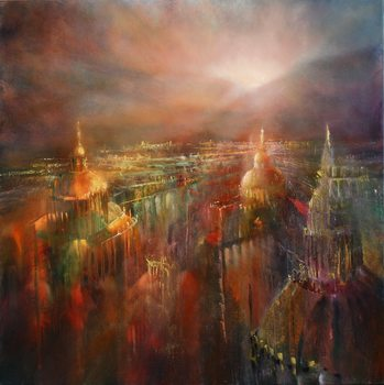 Illustration The city awakening