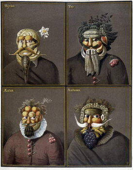 Fine Art Print The four seasons: men with vegetable heads in the way of Giuseppe Arcimboldo.