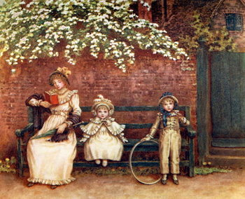 Taidejuliste 'The garden seat'  by Kate Greenaway.