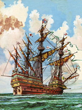 Taidejuliste The Great Harry, flagship of King Henry VIII's fleet