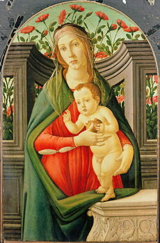 Fine Art Print The Madonna and Child in a niche decorated with roses