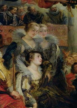 Reprodução do quadro The Medici Cycle: The Coronation of Marie de Medici  at St. Denis, detail of the Princesses of Guemenee and Conti