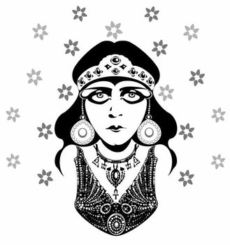 Taidejuliste Theda Bara, American silent film actress