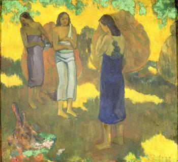 Fine Art Print Three Tahitian Women against a Yellow Background