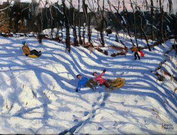 Fine Art Print Two boys falling off a sledge, Morzine