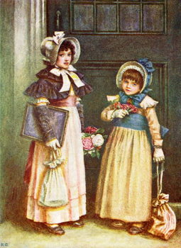 Taidejuliste 'Two girls going to school'  by Kate Greenaway.