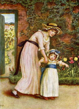 Taidejuliste 'Two girls in a garden',  by Kate Greenaway