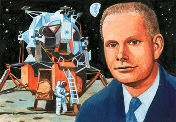 Fine Art Print Unidentified American astronaut and moon lander