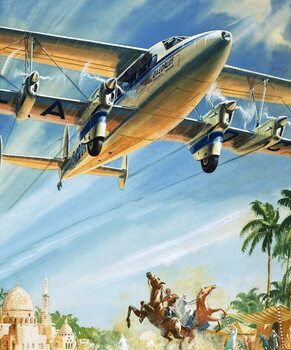 Fine Art Print Unidentified bi-plane flying over North Africa?