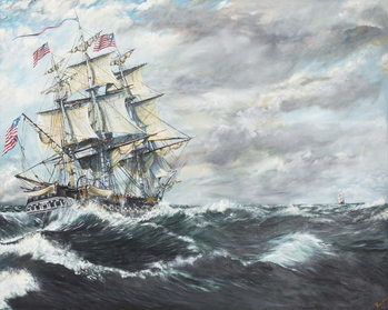 Taidejuliste USS Constitution heads for HM Frigate Guerriere