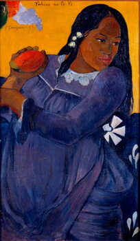 Reprodução do quadro Vahine no te vi Tahitian woman holding a mango