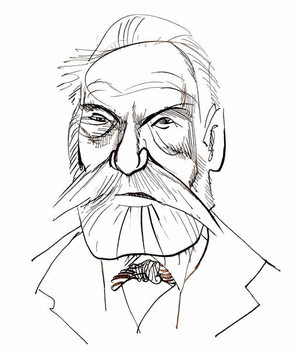 Taidejuliste Victor Hugo - caricature of French writer