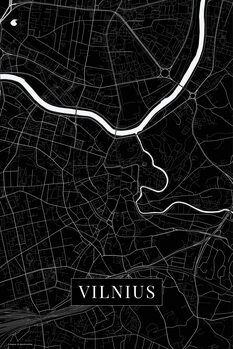 Map Vilnius black