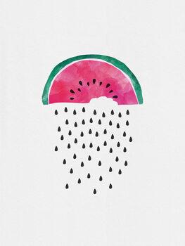 Illustration Watermelon Rain