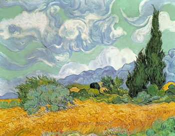 Taidejuliste Wheatfield with Cypresses, 1889