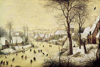 Fine Art Print Winter Landscape with Skaters and a Bird Trap