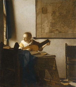 Taidejuliste Woman with a Lute, c.1662-1663