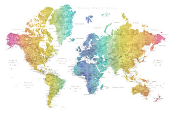 Map World map with labels in Spanish, rainbow watercolor