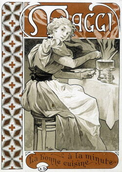 """Fine Art Print Young woman cooking on a gas stove - advertisement Maggi """""""" good food by the minute"""""""", by Mucha, circa 1890."""