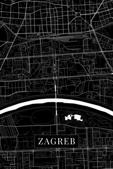 Map Zagreb black
