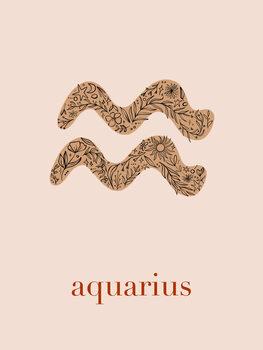 Illustration Zodiac - Aquarius - Floral Blush