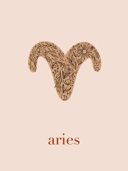 Illustration Zodiac - Aries - Floral Blush