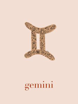 Illustration Zodiac - Gemini - Floral Blush