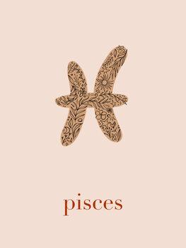 Illustration Zodiac - Pisces - Floral Blush