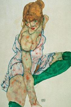 Impressão artística Blonde Girl With Green Stockings, 1914