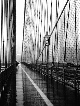 Impressão artística Brooklyn Bridge on rainning day