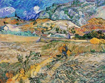 Impressão artística Enclosed Wheat Field with Peasant - Landscape at Saint-Rémy, 1889