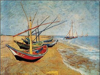 Impressão artística Fishing Boats on the Beach at Saintes-Maries, 1888